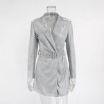 Sequins Blazer Dress Long Sleeve Silver Notched
