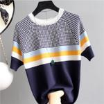Plaid T Shirt Striped Tshirt Knitted Cotton