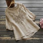 Cotton Casual Blouses Shirts New Fashion Half Sleeve