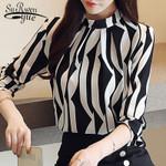 fashion blouse striped chiffon blouse shirt long sleeve
