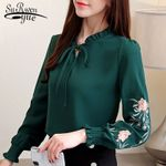 plus size tops floral embroidery chiffon blouse shirt