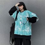 Fleece Sweatshirt Fake Pieces Crew Neck Female