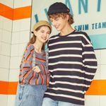 New Sweatshirt For Couples Loose stripe Hit color pullover