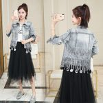 fashion The New Heavy industry tassel Sequins Wash Long sleeve