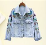 Short Denim Jacket New Loose Embroidered Heavy