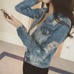 Casual Ripped Hole Denim Jeans Short Jacket