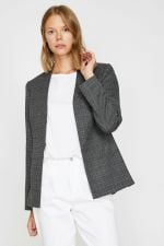Coton Gray V Neck Plaids Jacket