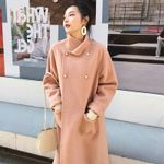 Drop shipping Stand Collar Pearl Button Woolen Overcoats