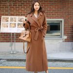 Drop shipping Office Ladies Notched Collar Long Overcoats