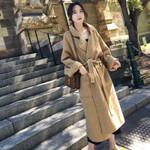 Drop shipping Stylish Turn-down Collar Pockets Long Overcoats