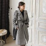 Drop shipping Notched Collar Sash Thick Plaid Woolen Overcoat