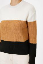 Coton Coffee Color Block Sweater