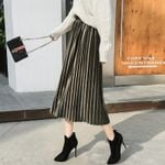 Plus Size Pleated Skirt Fashion Clothes Vintage Long Skirt