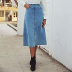 Denim Casual Sigle Button With Pocket Keen-Length Skirt