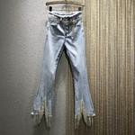 High-Waist Tassel Rhinestone Chain Jeans