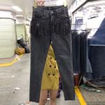 New Pocket Heavy Industry Tassel Scald High Waist Jeans