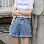 Streetwear High Waist Wide Leg Denim Shorts