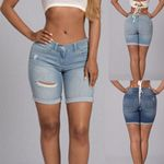 denim shorts ripped high waist High Elasticity Straight