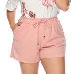 Drawstring short Plus Size Loose Pocket solid Trousers