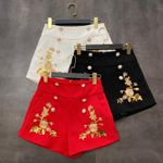 New Sequins Flower Embroidered Pearls Shorts
