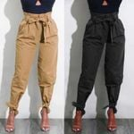 Belted High Waist Trousers Ladies Party Casual Pants