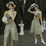 Fashion Streetwear Drawstring Waist Waves Cut Wide Leg