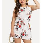 Jumpsuit O-Neck Printed Rompers Femme Print Playsuit