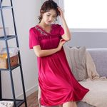 sleepwear Plus Size silk Nightgown Female Short Sleeve