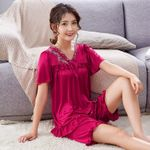 Plus Size silk Nightgown Female Large Size Short Sleeve