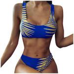 Leaf Print Swimwear Plus Size Bikini Set Push Up Padded Bra