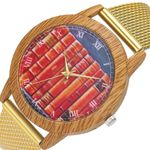 Qualities watches Nature Wooden Grain book Dial Quartz Watch
