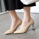 Elegant Office Lady Slip On High Heels Shoes Pumps Female
