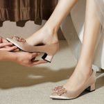 champagne annual meeting high heels bridal shoes