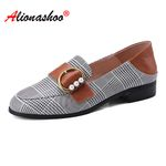 Loafers Flat Metal Pearls Buckle Strap Plaid Fabric Casual Shoes