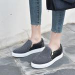 Flat Shoes Slip On Loafers Zipper Platform Fashion Casual