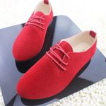 Flats Lace Up Casual Shoes Faux Suede Oxford Shoes Pointed Toe