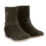 Buckle Strap Boots Fashion Square heel Flock Waterproof