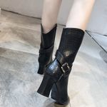 Mid-Calf long boots fashion platform Square heel leather