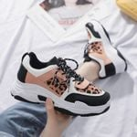 Dad Sneakers Leopard Lace Up Suede Vulcanized Shoe