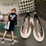 New Embroidery Leather Sneakers Platform Black Fashion