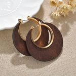 Ethnic Hollowed Earring Trendy Wood Suqare Round Gold