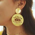 Vintage Engraved Evil Eye Circle Flower Gold Statement Earrings
