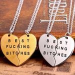 Fashion Double Thin Chain Broken Heart Parts Necklaces&Pendants