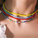 Candy Color  Bohemian Rainbow Beads Choker Handmade