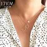 Romantic Pendant Necklaces Gift Girls Crystal Moon Star