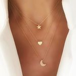 Multilayer Gold Eyes Necklaces Crystal Moon Star