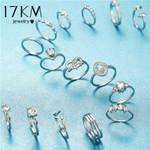 Crystal Heart Rings Set Elegant Silver Color Finger Rings