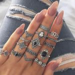 Vintage Mid Rings Set Flower Crown Hollow Out