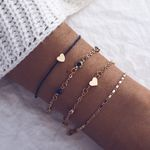 Simple Love Heart String Metal Chain Four Piece Bracelet