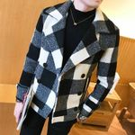 Fashion Plaid Double Breasted Woolen Short Coats